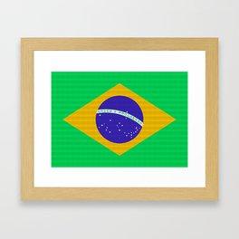 Brazil Flag (Patchwork Look) Framed Art Print