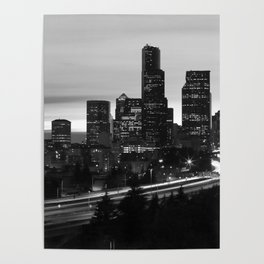Seattle Skyline Sunset City - Black and White Poster