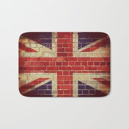 Vintage UK flag on a brick wall Bath Mat