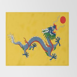 Chinese Dragon - Flag of Qing Dynasty Throw Blanket