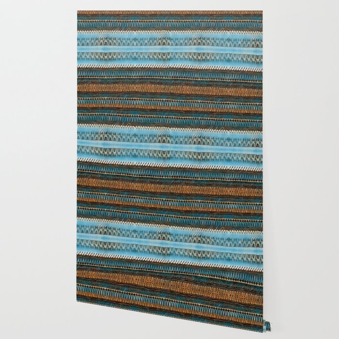 Candle Arches: Jagged/Sharp -  Blue Orange Brown Wallpaper