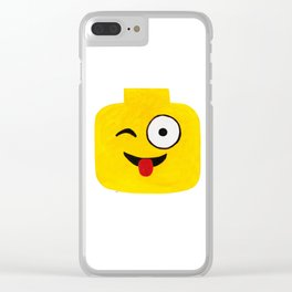 Winking Smile - Emoji Minifigure Painting Clear iPhone Case