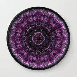 Purple mandala, crown chakra pattern sacred geometry, spiritual yoga art Wall Clock