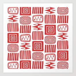 Retro Mid Century Modern Check Pattern 240 Red Art Print