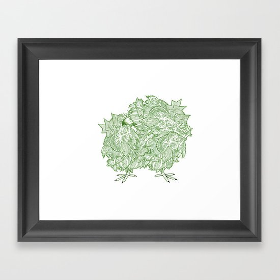Green Bird Framed Art Print