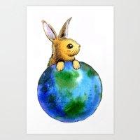 Earth bunny Art Print