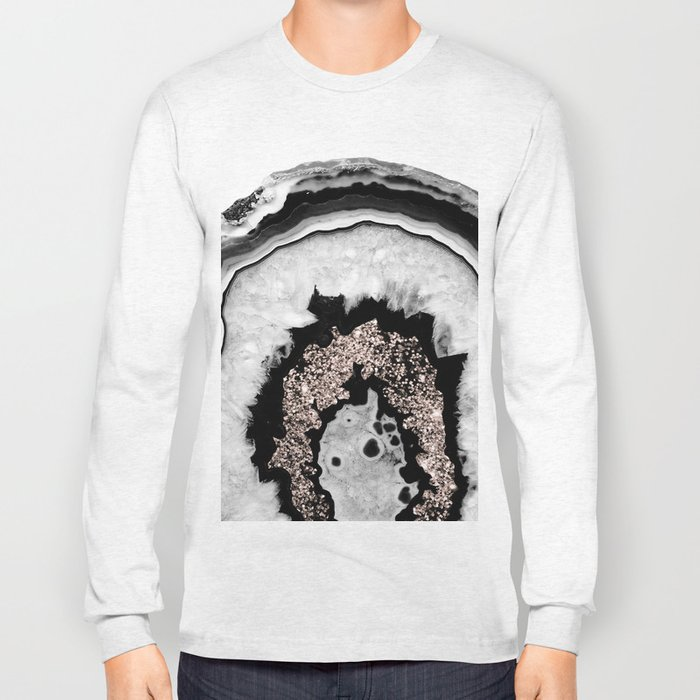 Gray Black White Agate with Rose Gold Glitter #1 #gem #decor #art #society6 Long Sleeve T-shirt