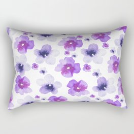 Modern purple lavender watercolor floral pattern Rectangular Pillow