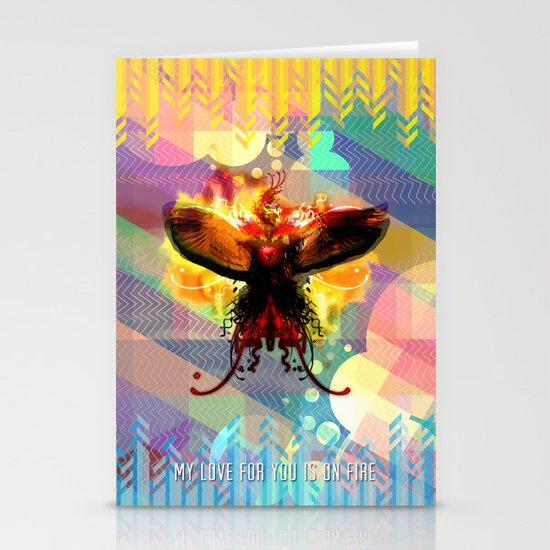 My Love For You Is On Fire Stationery Cards
