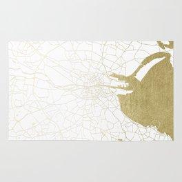 White on Gold Dublin Street Map Rug