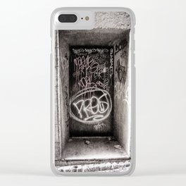 Graffiti on Urban Door in Black and White Clear iPhone Case