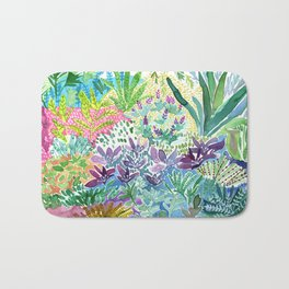 Tropical Garden Watercolor Bath Mat