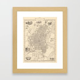 Vintage Map of Belfast Ireland (1851) Framed Art Print