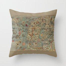 Carta Marina et Description 1539 Throw Pillow