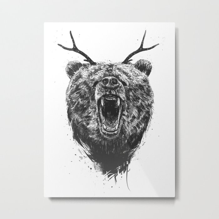 Angry bear with antlers Metal Print