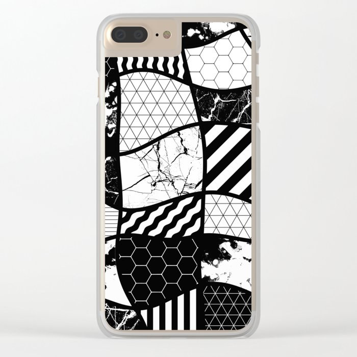 Crazy Patchwork (Abstract, black and white, geometric designs) Clear iPhone Case