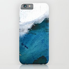 In the Surf: a vibrant minimal abstract painting in blues and gold iPhone Case