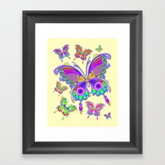 Butterfly Colorful Tattoo Style Pattern Framed Art Print