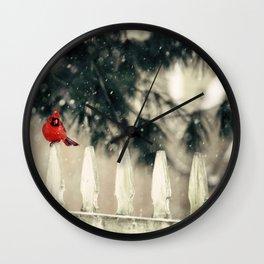 Snowy Day Cardinal Wall Clock