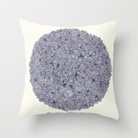 bedding Throw Pillows featuring Held Together - a pattern of navy blue doodles by micklyn