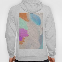 Abstract modern teal pink acrylic paint brushstrokes Hoody