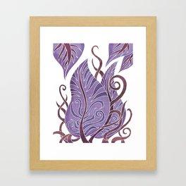 Leaf - Exotic Boho Leaf Pattern 02- Colorful, Modern, Tropical Art - Purple, Cosmic, Jagger Framed Art Print