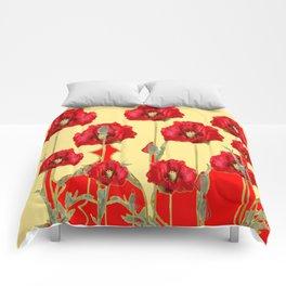 RED POPPIES ON CREAM ART NOUVEAU DESIGN Comforters
