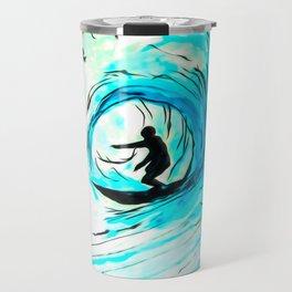Surfer in blue Travel Mug
