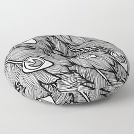 Black & White Peacock Feathers Floor Pillow