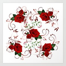 Enchanted Red Rose Abstract Art Print