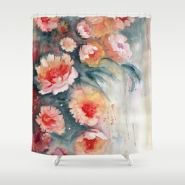 Floral Impressionist Watercolor Shower Curtain