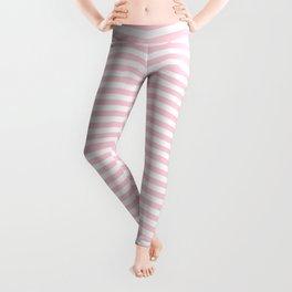Light Soft Pastel Pink and White Chevron Leggings