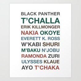 Black Panther Character Names Art Print