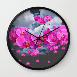 PINK ORCHID FLOWERS CLOUDS & RAIN Wall Clock