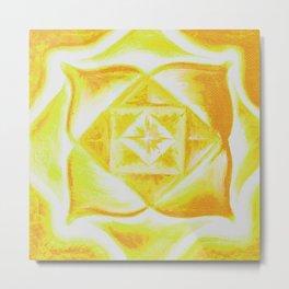 Four Directions - Balancing Square Yellow Metal Print