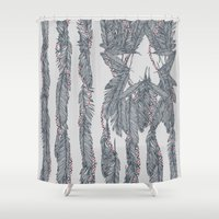 flag Shower Curtains featuring America Feather Flag by Sitchko Igor