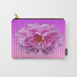 Pink Peony Flower on Purple Optical Art Pattern Carry-All Pouch
