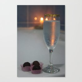 A Perfect Romance. Jacuzzi, Wine and Chocolates Canvas Print