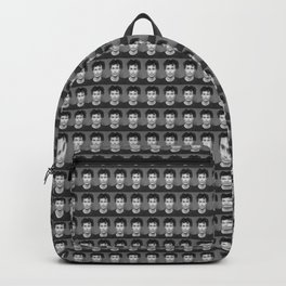 Face Headshot of man in black and white Backpack