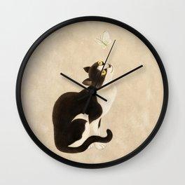 Minhwa: cat & butterfly (Korean traditional/folk art) Wall Clock