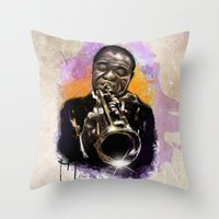 louis armstrong Throw Pillows featuring Louis Armstrong by Philipe Kling