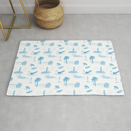 Seaside Town Toile Pattern (White and Blue) Rug