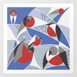 Birds bullfinches in blue, red and grey colors Art Print