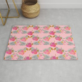 Wings and Roses Blush Pink Rug