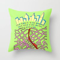 paper towns Throw Pillows featuring Paper Towns by green.lime