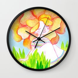 Peachy Rose Flower Girl Wall Clock
