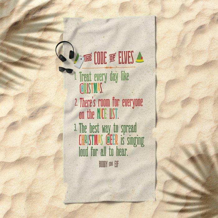 Buddy the Elf! The Code of Elves Beach Towel