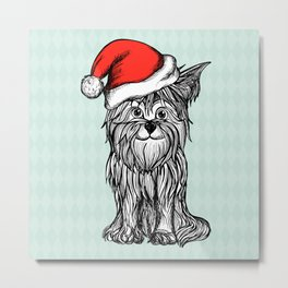 Christmas Dog In Santa Clause Hat Metal Print