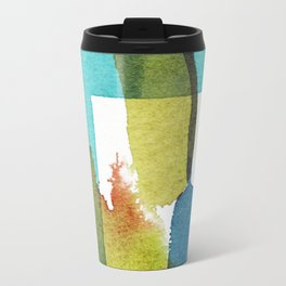 Blue and Green and Yellow Abstract Panting Travel Mug