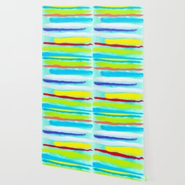 Ocean Blue Summer blue abstract painting stripes pattern beach tropical holiday california hawaii Wallpaper